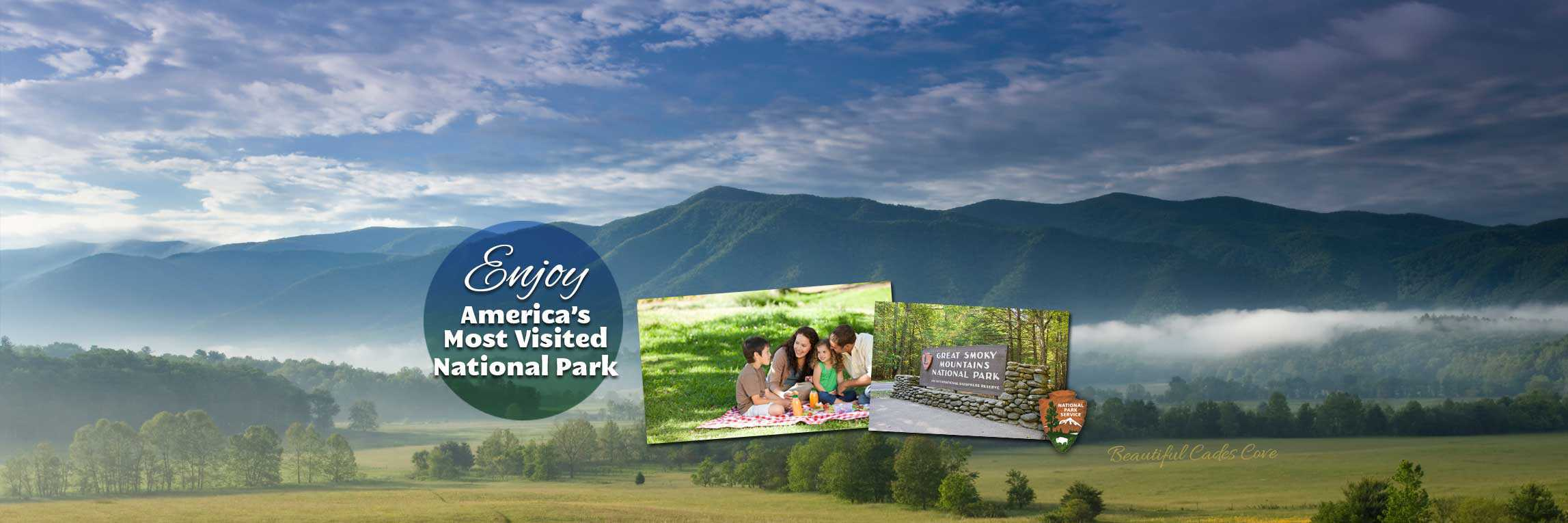 A banner featuring the Great Smoky Mountains, a picnic, and a sign for the national park.