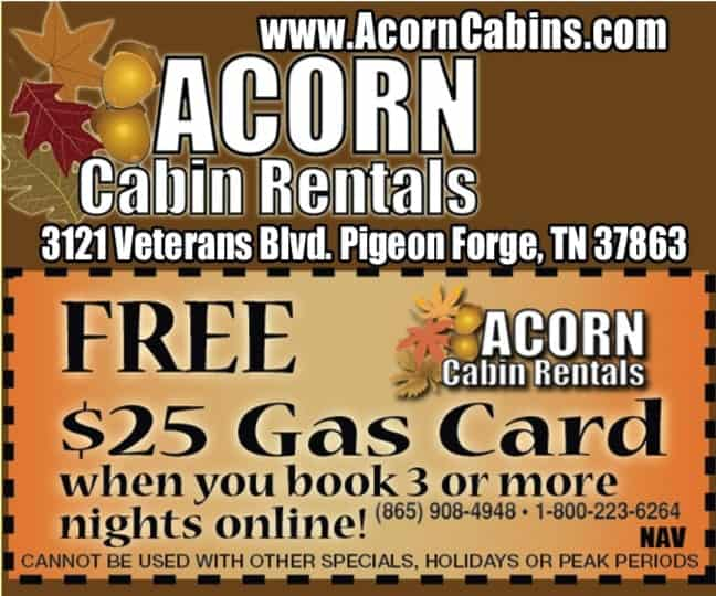 Smoky mountain lodging coupons for pigeon forge for Pigeon forge cabin coupons