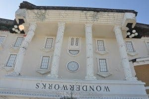 Closeup photo of the upside down WonderWorks attraction in Pigeon Forge, TN.