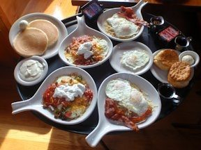 Breakfast options at Flapjacks in Sevierville