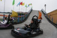Racing down the track at Lazerport Fun Center