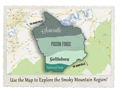 Sevier County map of Pigeon Forge, Gatlinburg, and Sevierville