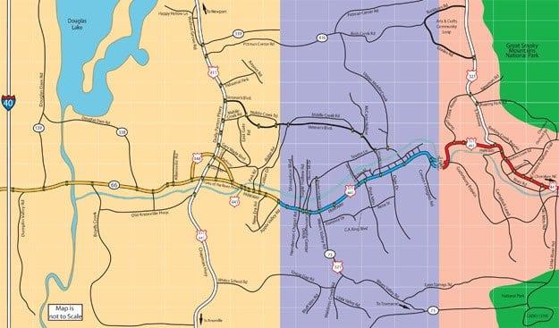 Smoky Mountain area map