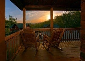 front porch on a cabin at sunset