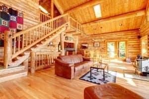 The interior of a Smoky Mountain log cabin.