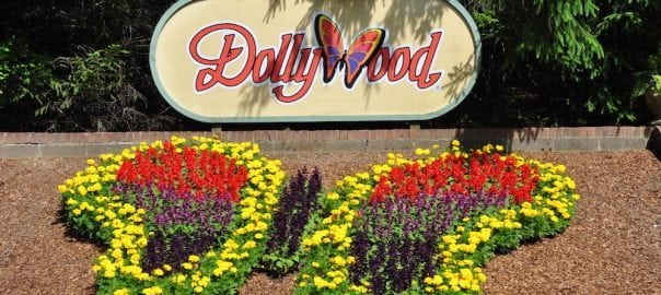 The colorful butterfly flower arrangement at the entrance to Dollywood.