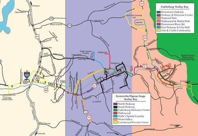 Smoky Mountain trolley map